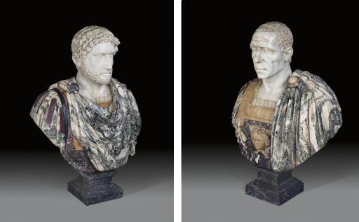 A PAIR OF ITALIAN SPECIMEN MARBLE BUSTS OF HADRIAN AND JULIUS CAESAR