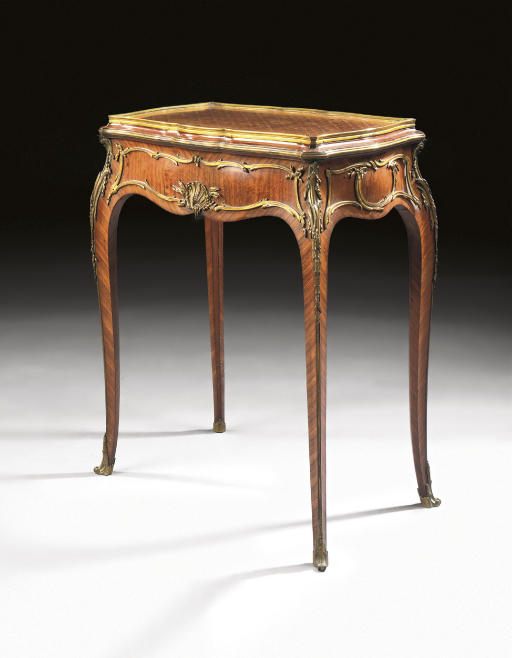 A FRENCH ORMOLU-MOUNTED KINGWOOD, SATINE AND PARQUETRY JARDINIERE