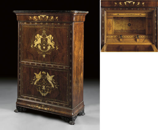 A CONTINENTAL CUT-BRASS AND IVORY-INLAID ROSEWOOD SECRETAIRE A ABATTANT