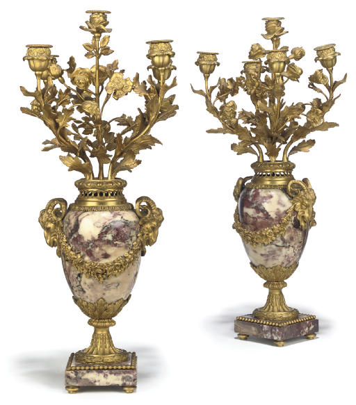 A PAIR OF FRENCH ORMOLU AND BRECHE VIOLETTE MARBLE FIVE-LIGHT VASE-CANDELABRA