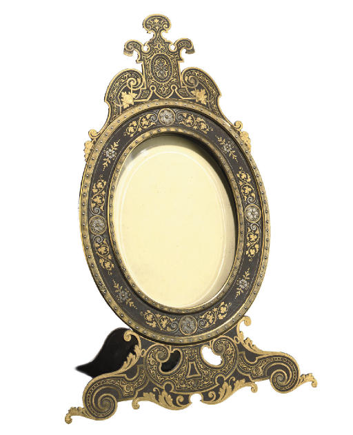 A SPANISH GOLD AND SILVER-DAMASCENED FORGED-IRON PHOTOGRAPH FRAME