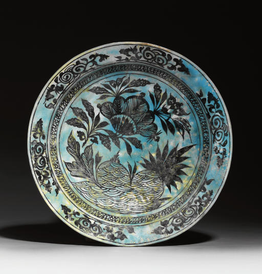 A TIMURID TURQUOISE AND BLACK