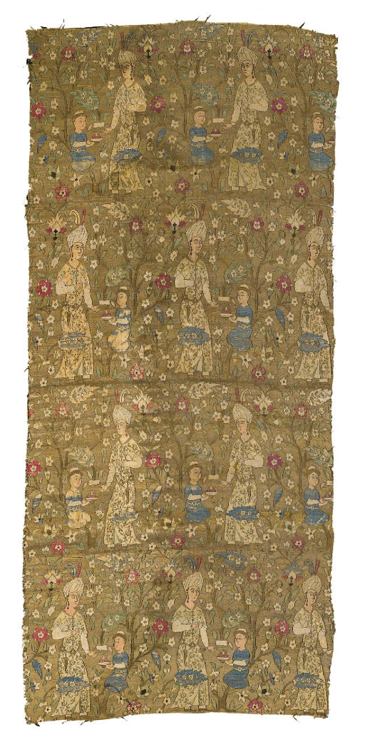 A SAFAVID SILK AND SILVER THRE