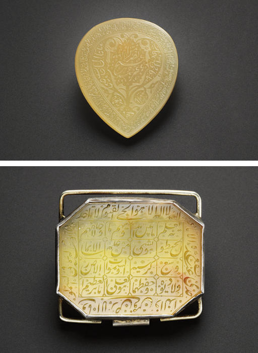 TWO INSCRIBED AGATE TALISMANS