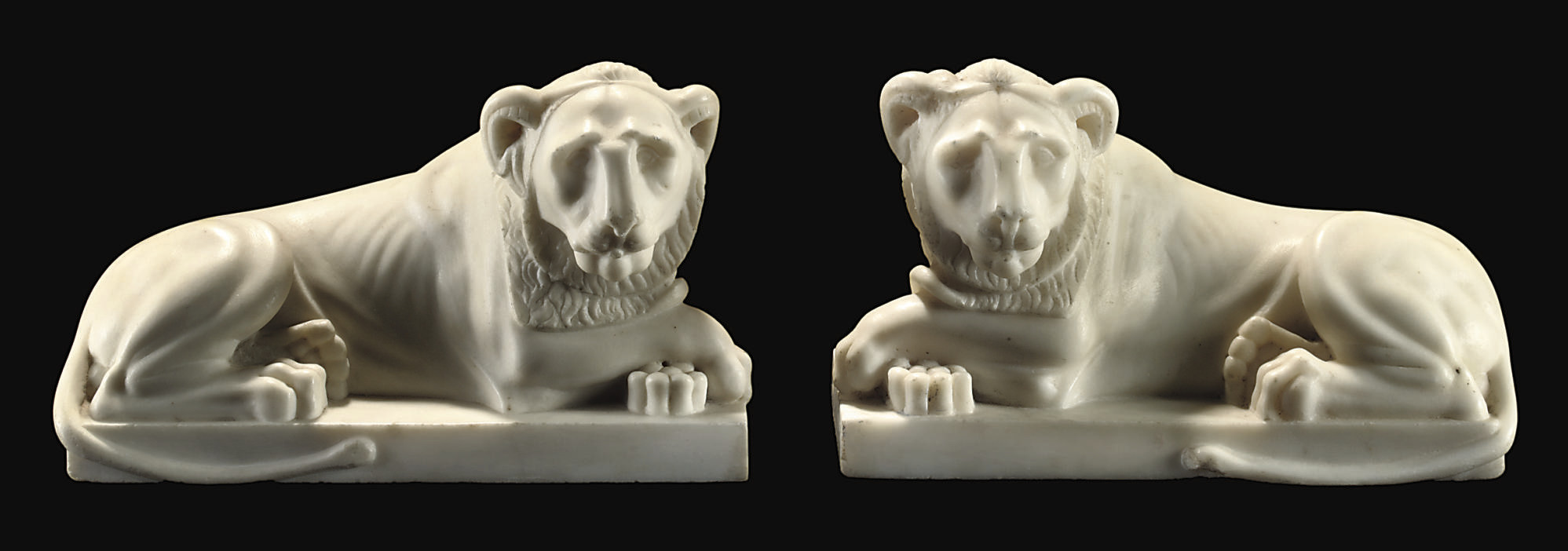 A PAIR OF WHITE MARBLE MODELS