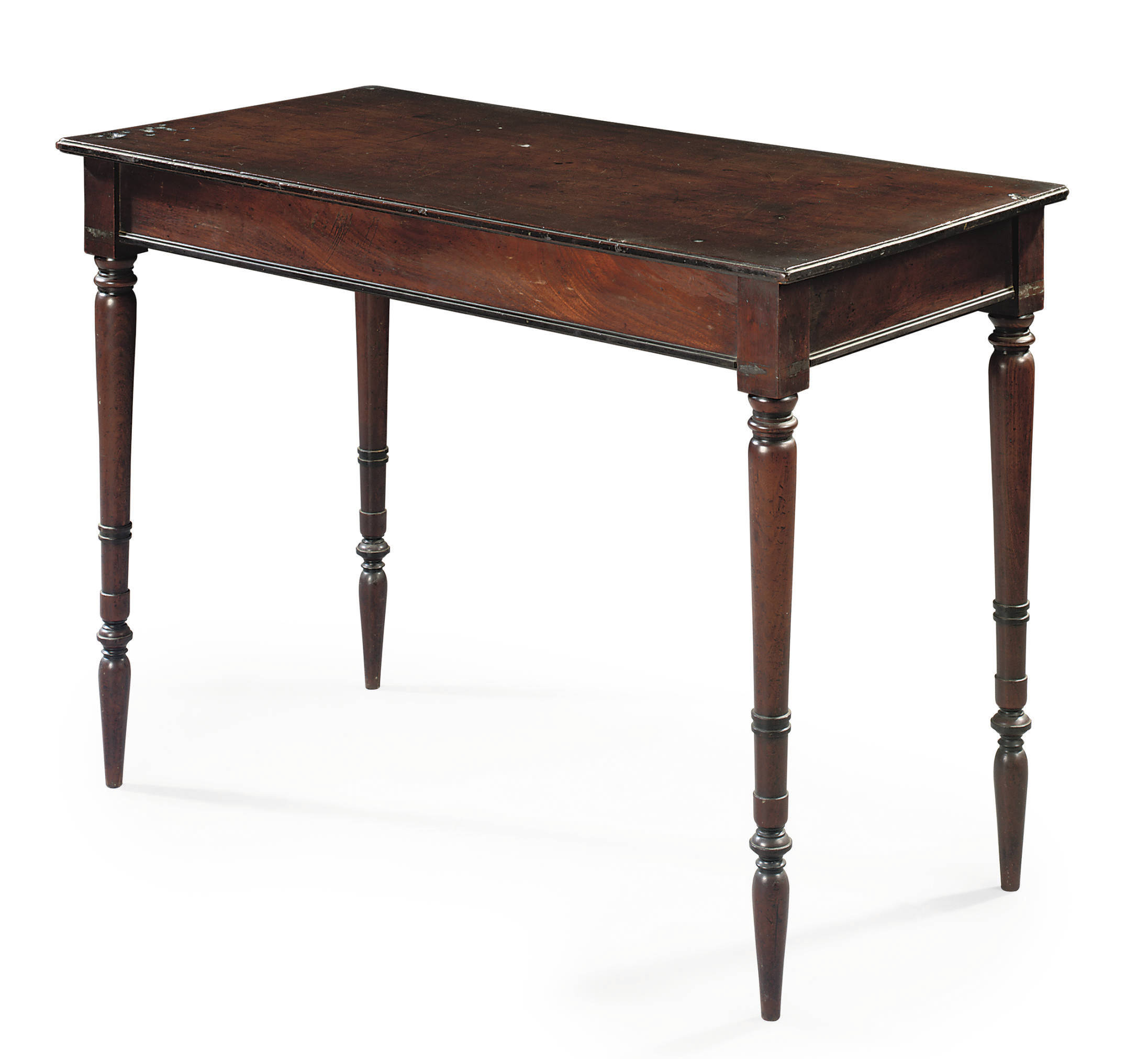 A REGENCY EBONY AND MAHOGANY SIDE TABLE