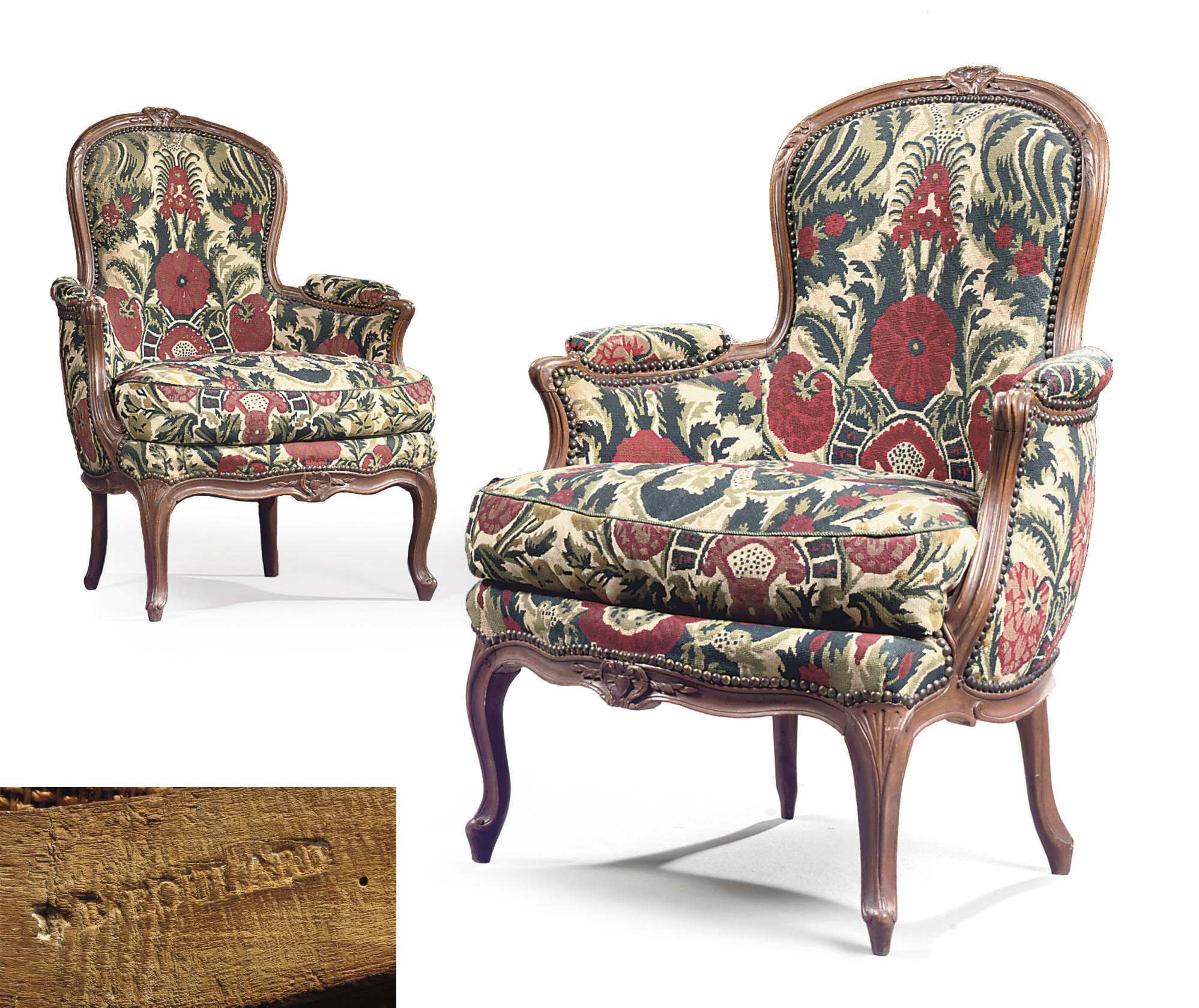 A PAIR OF LOUIS XV BEECHWOOD BERGERES