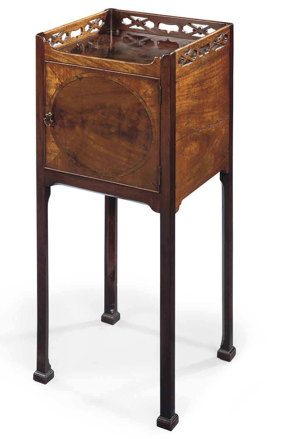 A GEORGE III MAHOGANY BEDSIDE TABLE