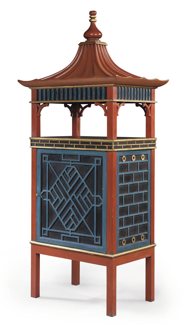 A RED, BLACK AND BLUE-PAINTED AND PARCEL-GILT TELEVISION CABINET