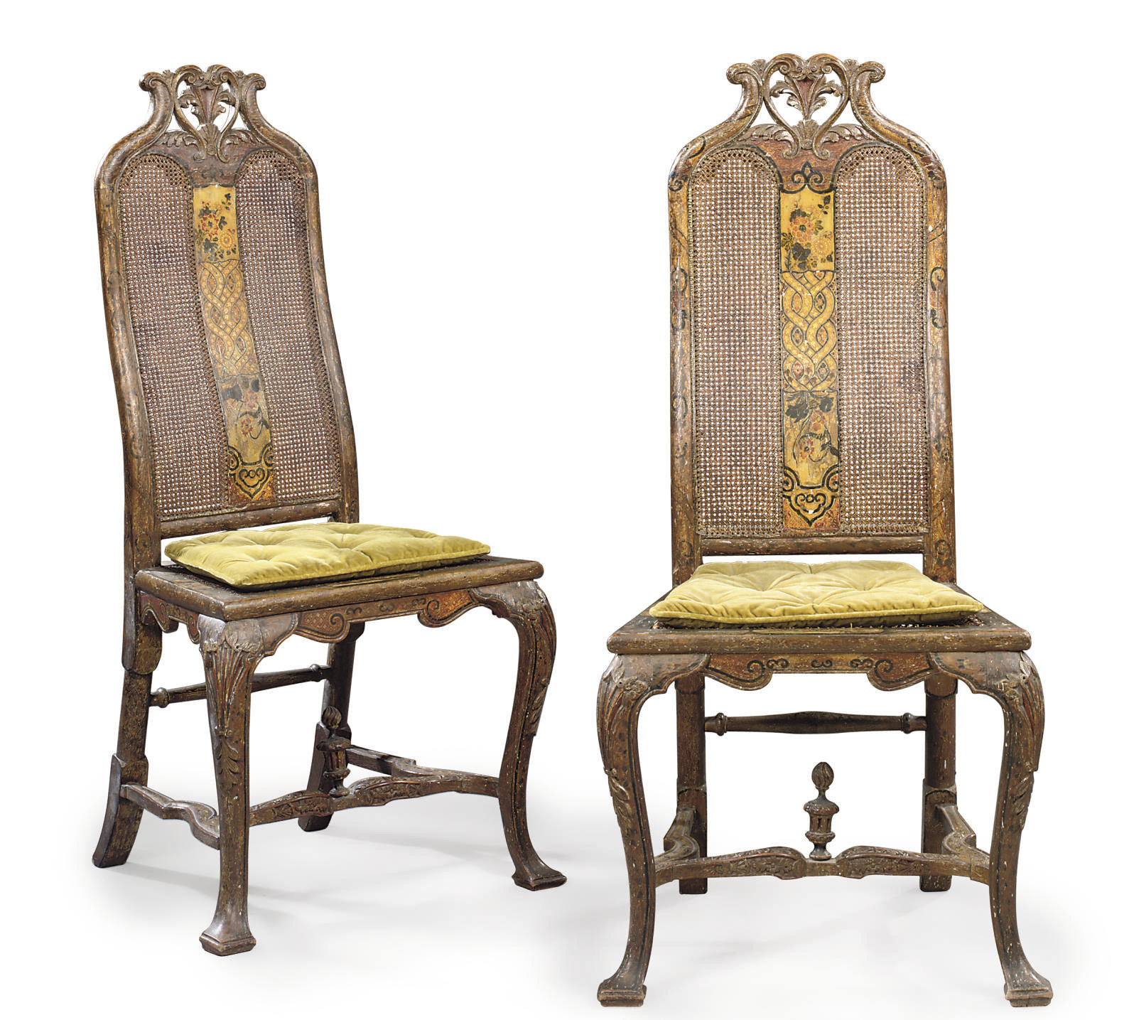 A PAIR OF QUEEN ANNE WHITE AND