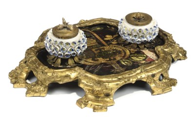 A LOUIS XV ORMOLU AND PORCELAI