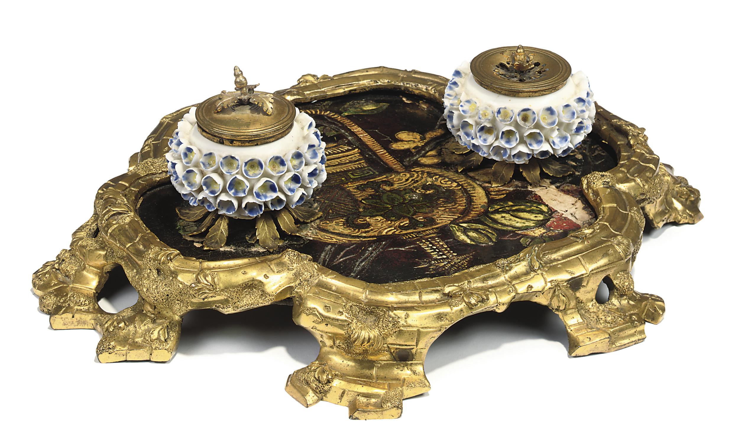 A LOUIS XV ORMOLU AND PORCELAIN-MOUNTED COROMANDEL LACQUER ENCRIER