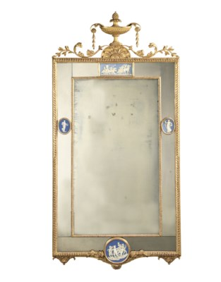A PORCELAIN-MOUNTED GILTWOOD M