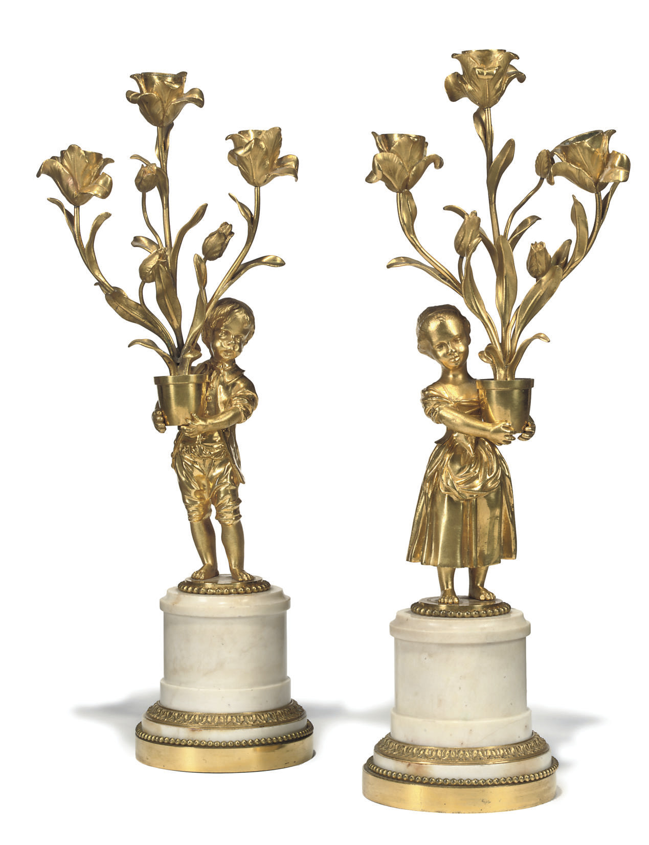 A PAIR OF RESTAURATION ORMOLU