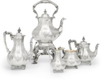 A FIVE-PIECE VICTORIAN SILVER TEA AND COFFEE SERVICE