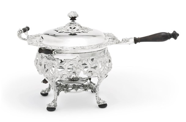 A SILVER-PLATED CHAFING-DISH,