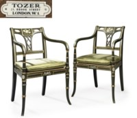 A SET OF TWELVE GREEN AND CREAM-PAINTED PARCEL-GILT ARMCHAIRS