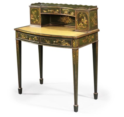 A GREEN JAPANNED WRITING-DESK