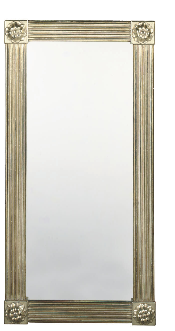 A SILVERED MIRROR AND A PAIR O