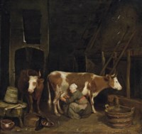 A milkmaid milking cows in a barn
