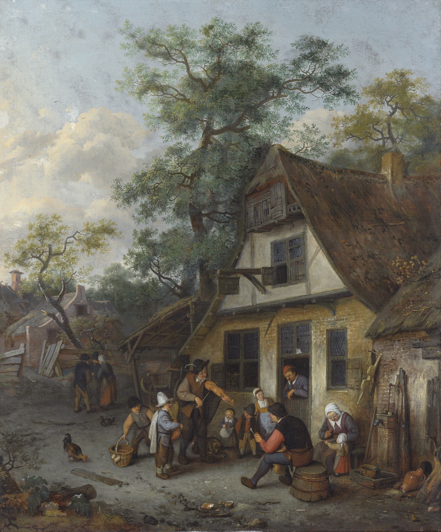 A village street with a fiddler and a hurdy-gurdy player before an inn with other figures