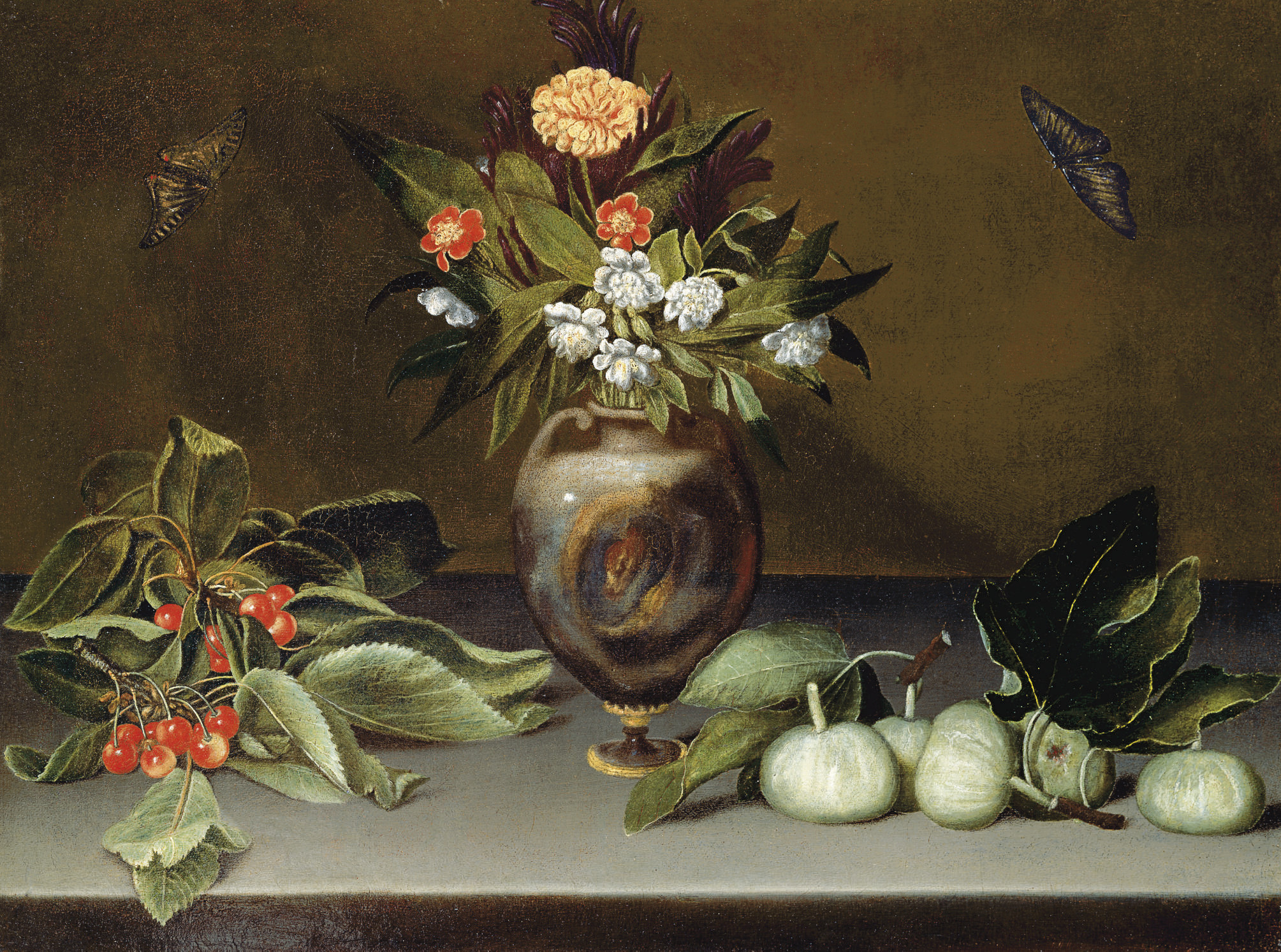 Narcissi and a carnation in an urn on a stone ledge with cherries, figs and butterflies