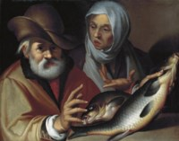 An old couple selling fish