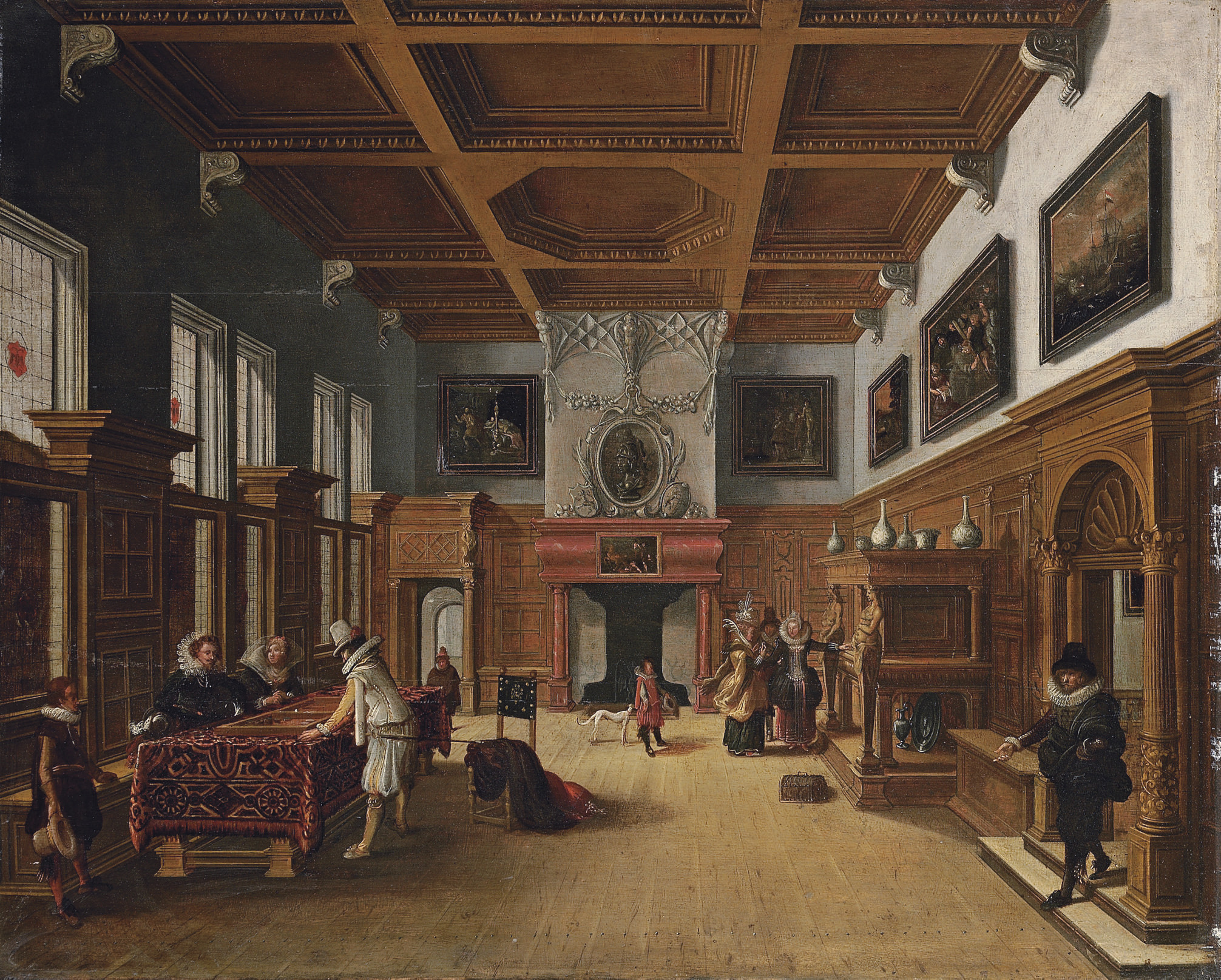 An interior with elegant company playing backgammon