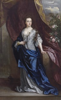 Portrait of Elizabeth, Duchess of Dorset, full-length, in a white dress with a blue wrap, leaning on a stone pedestal with her left hand, beside a draped curtain