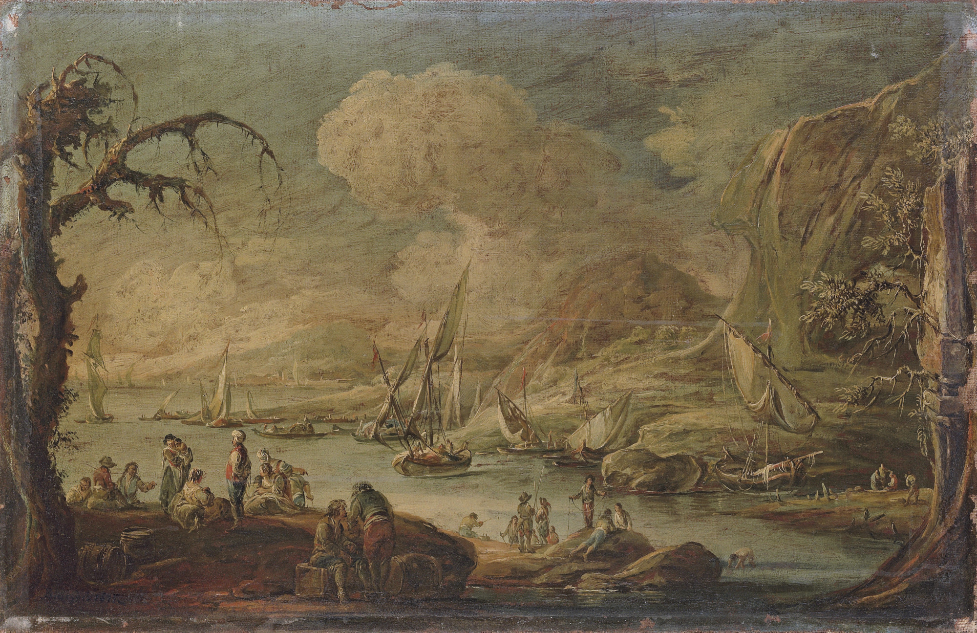 A coastal inlet with soldiers and peasants resting, with shipping beyond