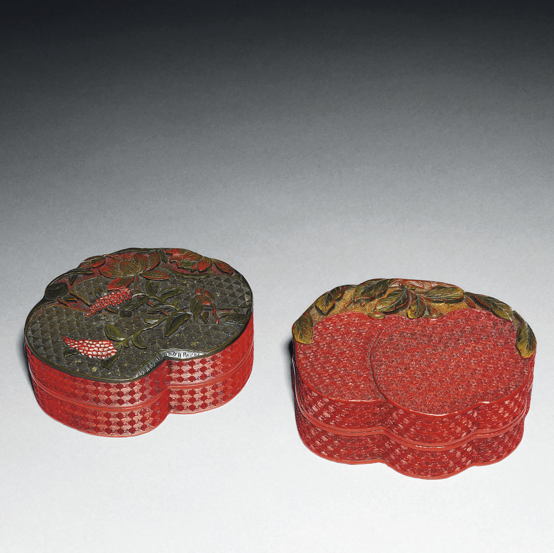 TWO CINNABAR LACQUER BOXES AND
