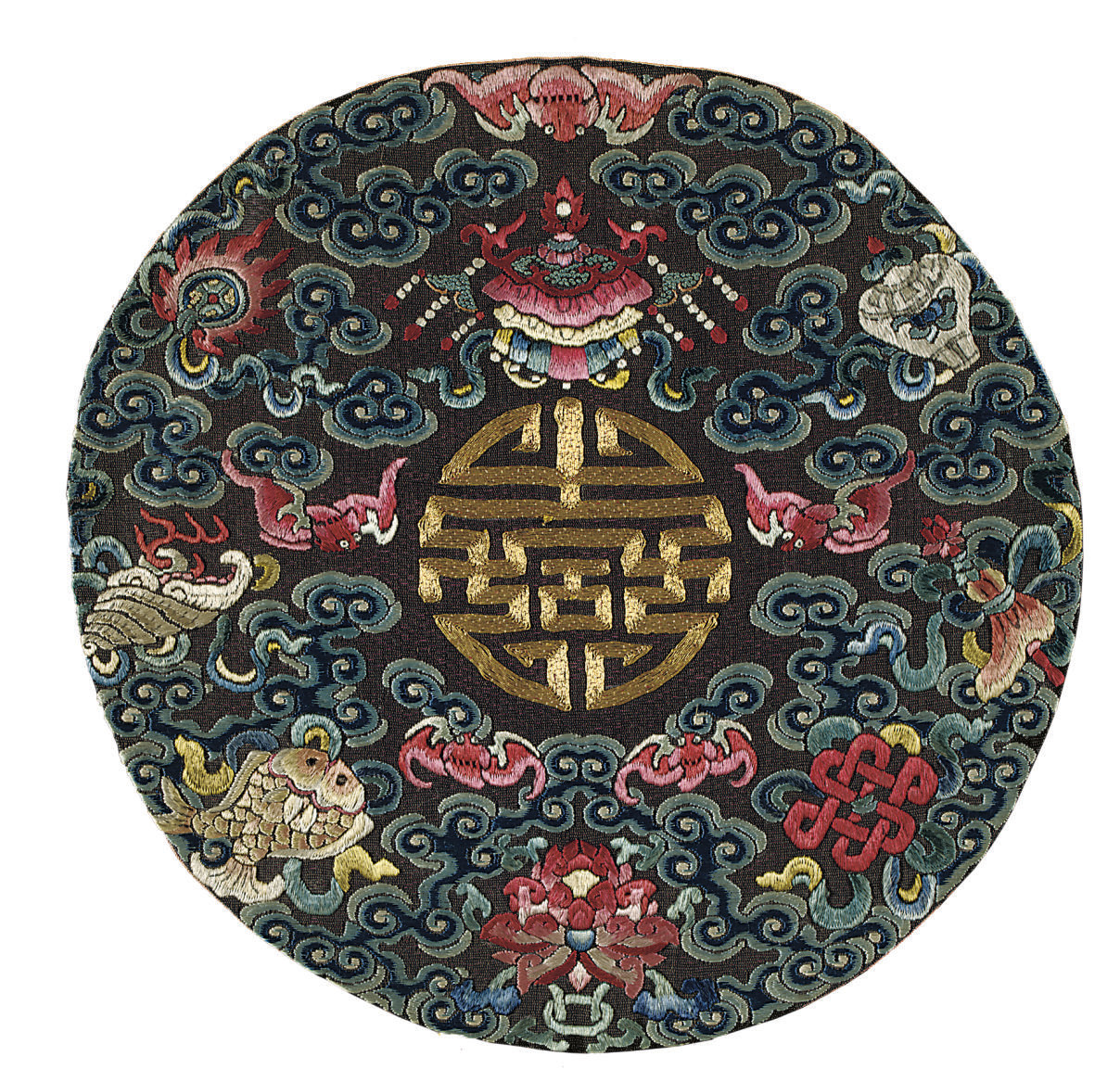 TWO EMBROIDERED ROUNDELS