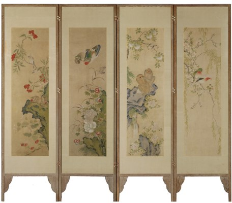 A FOUR-LEAF PAINTED SCREEN