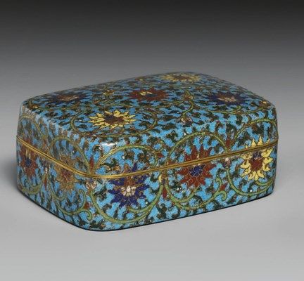 A CLOISONNÉ ENAMEL BOX AND COV