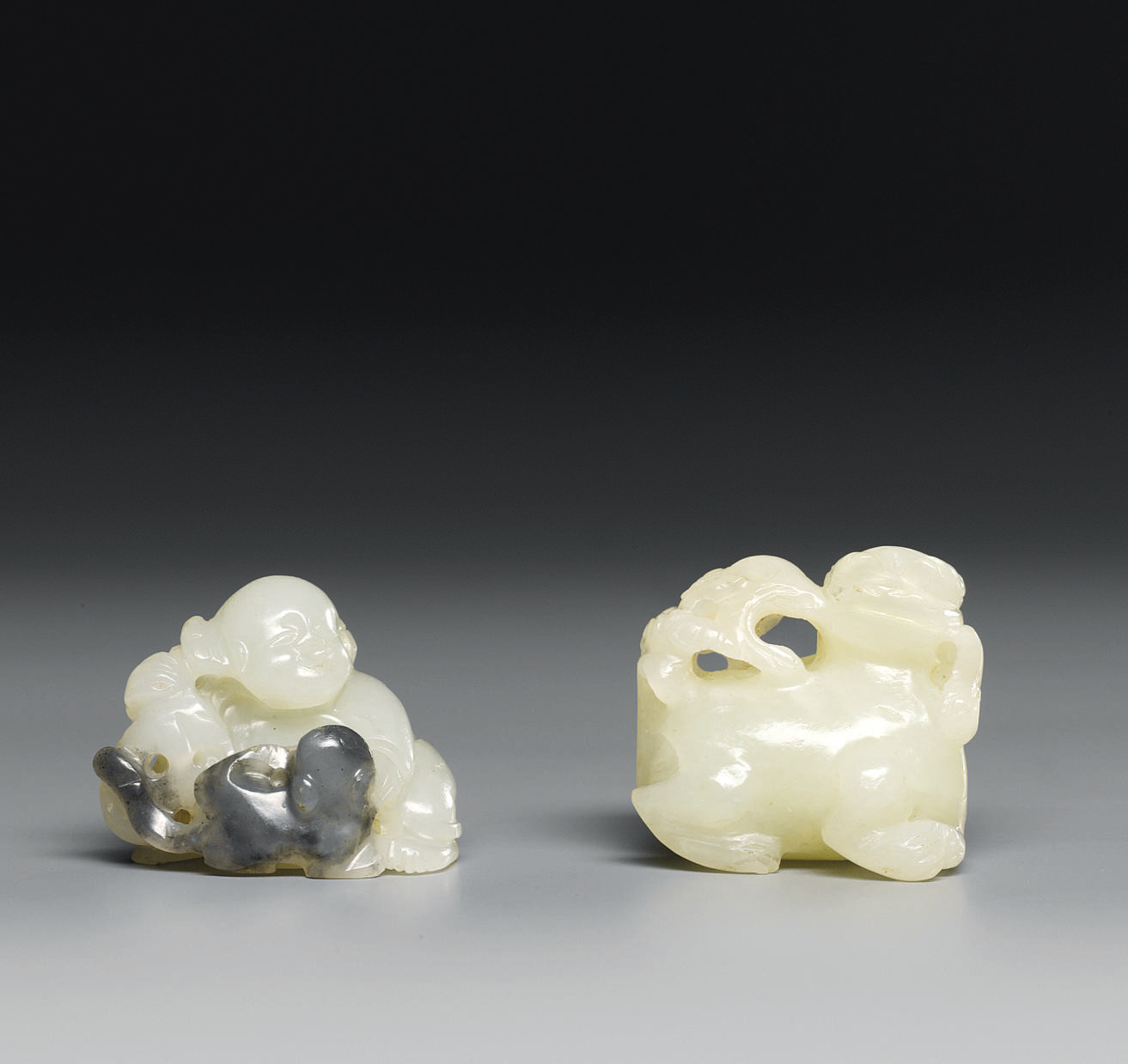 A WHITE AND GREY JADE BOY; AND