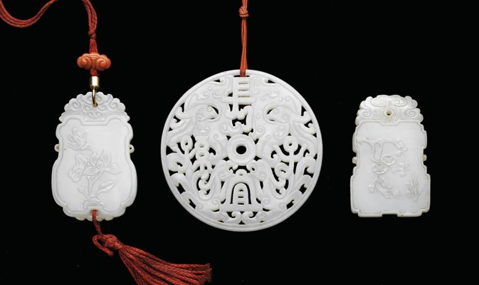 THREE WHITE JADE PENDANTS