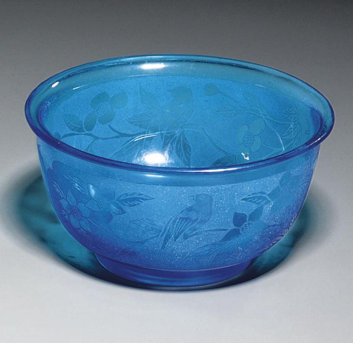 A BEIJING BLUE GLASS BOWL