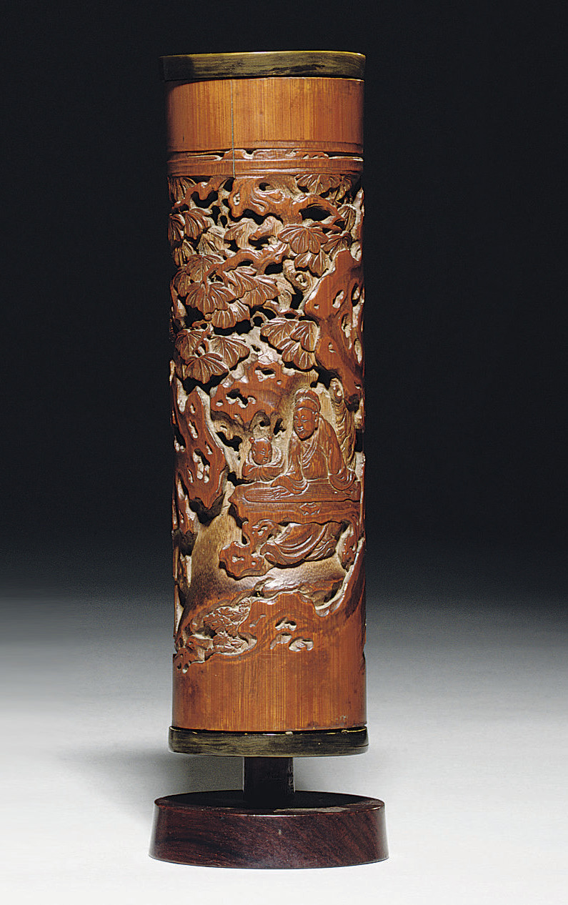 A FINELY CARVED BAMBOO PARFUMI