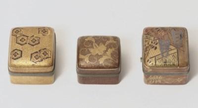 Three lacquer kobako [incense