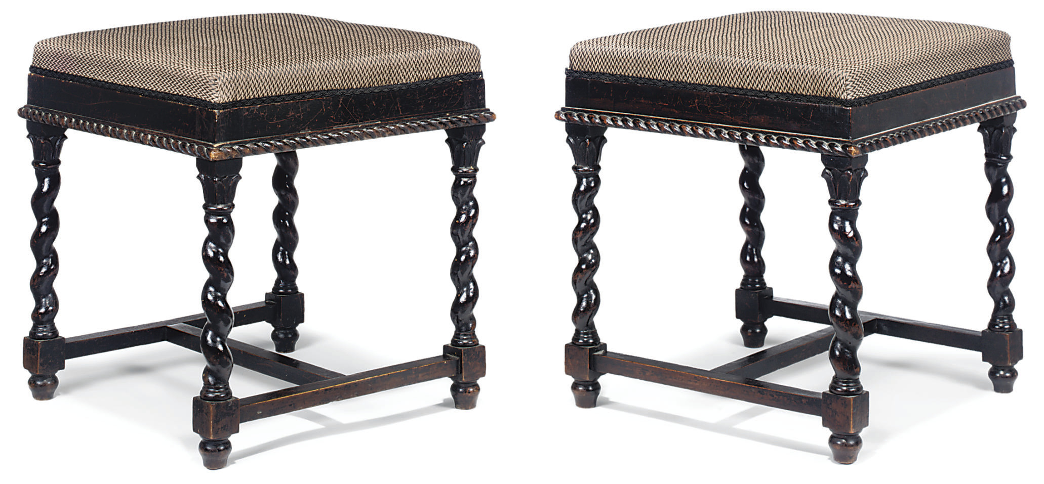 A PAIR OF ANTIQUARIAN EBONISED