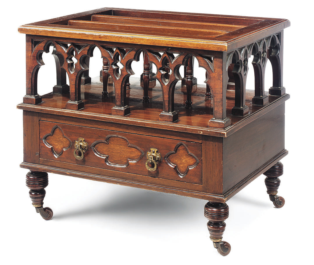 A VICTORIAN WALNUT GOTHIC CANT
