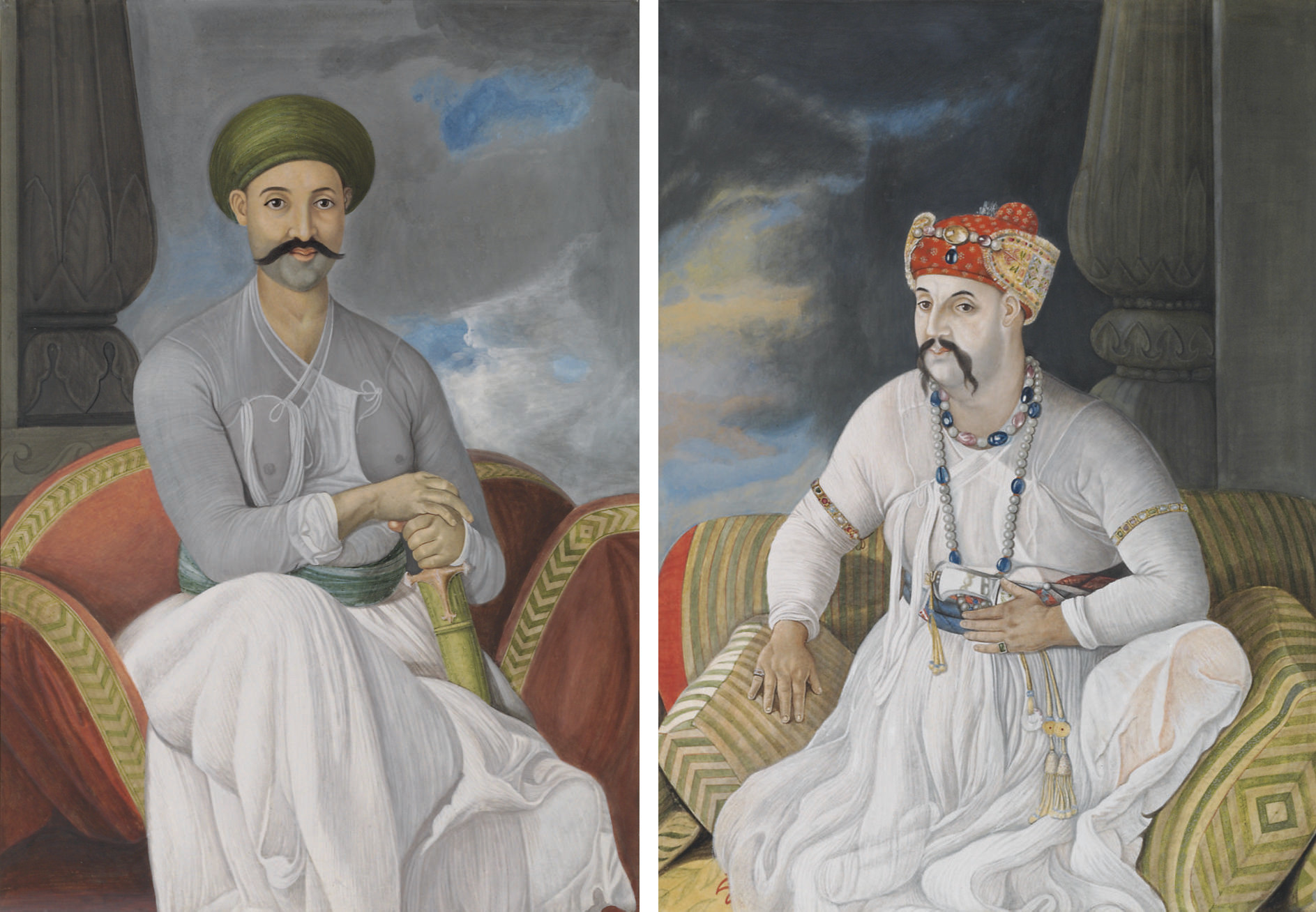 Portrait of The Nabob Vizier Asaf-Ud-Daula, seated, full-length; and Portrait of Prince Mirza Jawan Bakht, heir apparent to the Mughal Emperor Shali Alan, seated, full-length