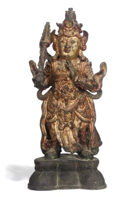 A CHINESE GILT-LACQUERED BRONZ