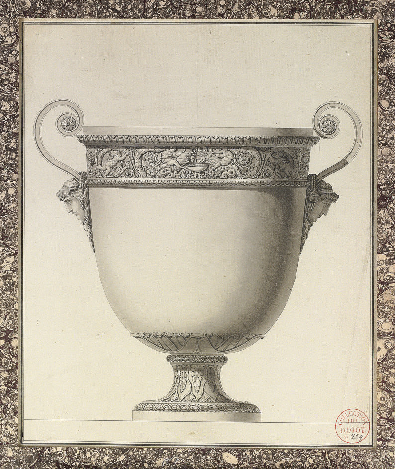 Design for a wine cooler with a frieze of acanthus scrolls and putti driving chimerical serpent-tailed rams, with bacchantae head handles