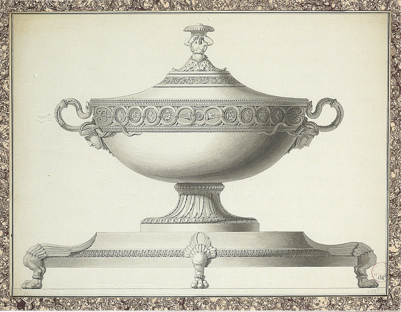 Design for a tureen with snake handles on a platter with lion's paw feet