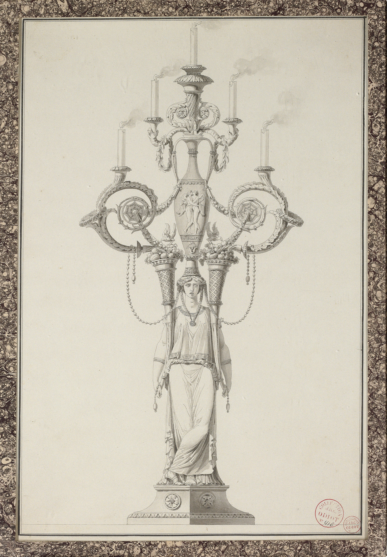 Design for an elaborate candelabrum with a classical figure holding two cornucopia supporting an urn and five lights