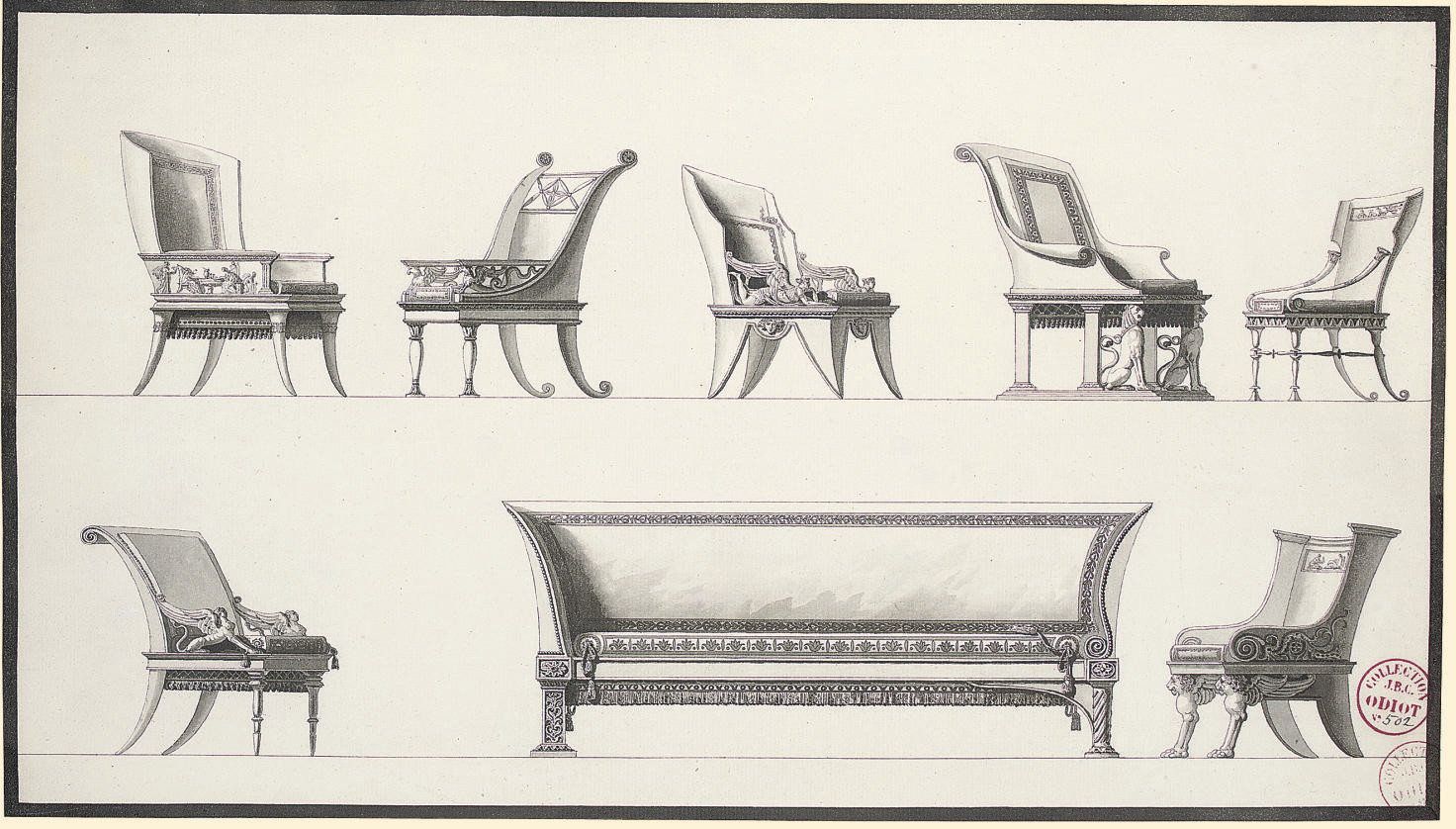 Designs for seven elaborate armchairs and a sofa