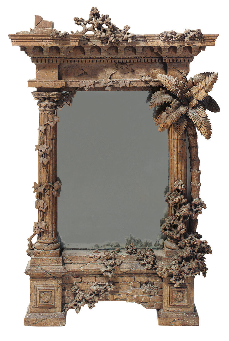 A CARVED WALNUT MIRROR MODELLE