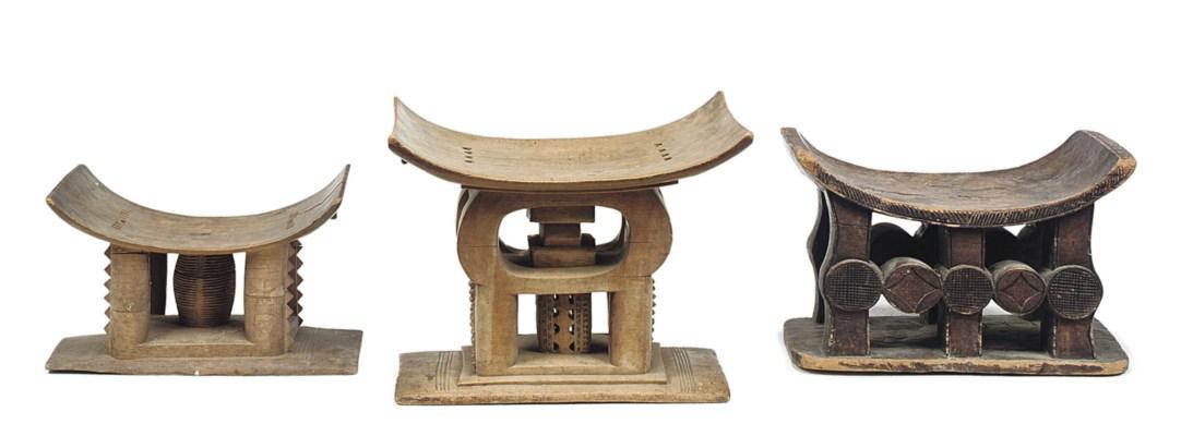 THREE AFRICAN TRIBAL STOOLS