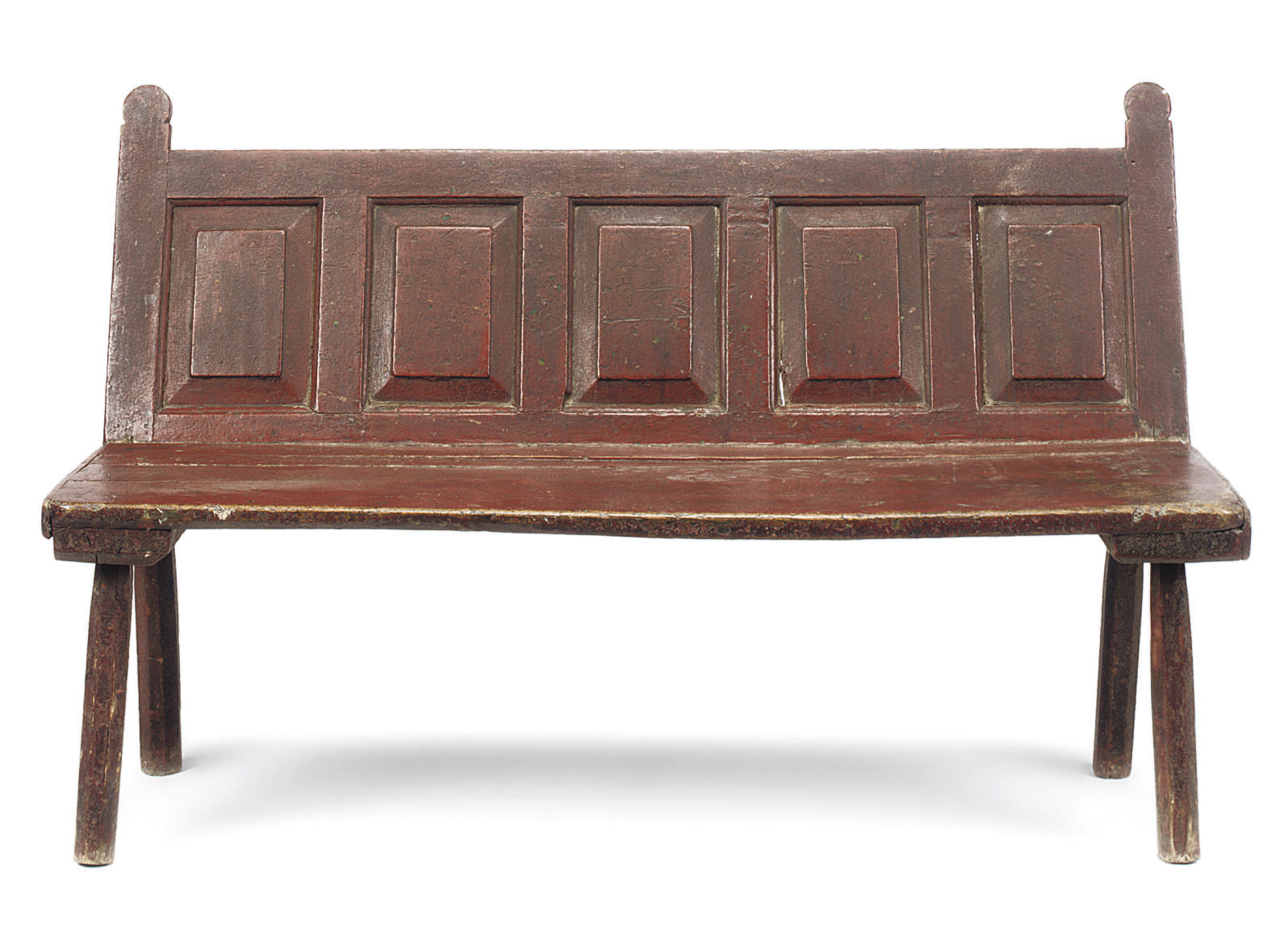 A GEORGE III RED-PAINTED BENCH
